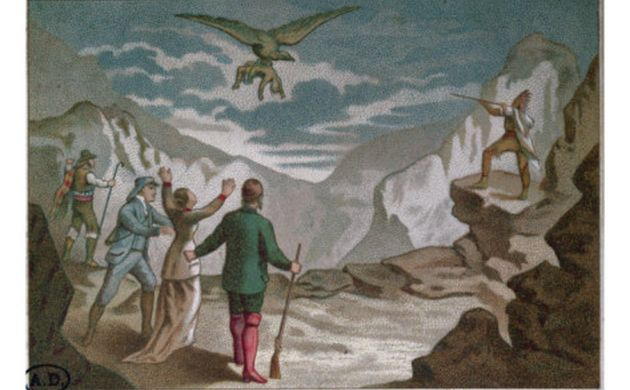 eagle carrying a child - illustration