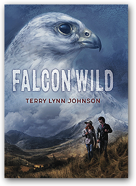 Cover of Falcon Wild - gyrfalcon in profile superimposed on two preteen kids on a mountain