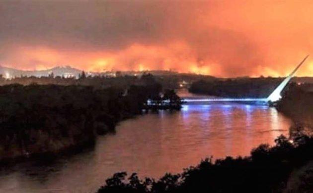 Carr Fire Over Sundial Bridge